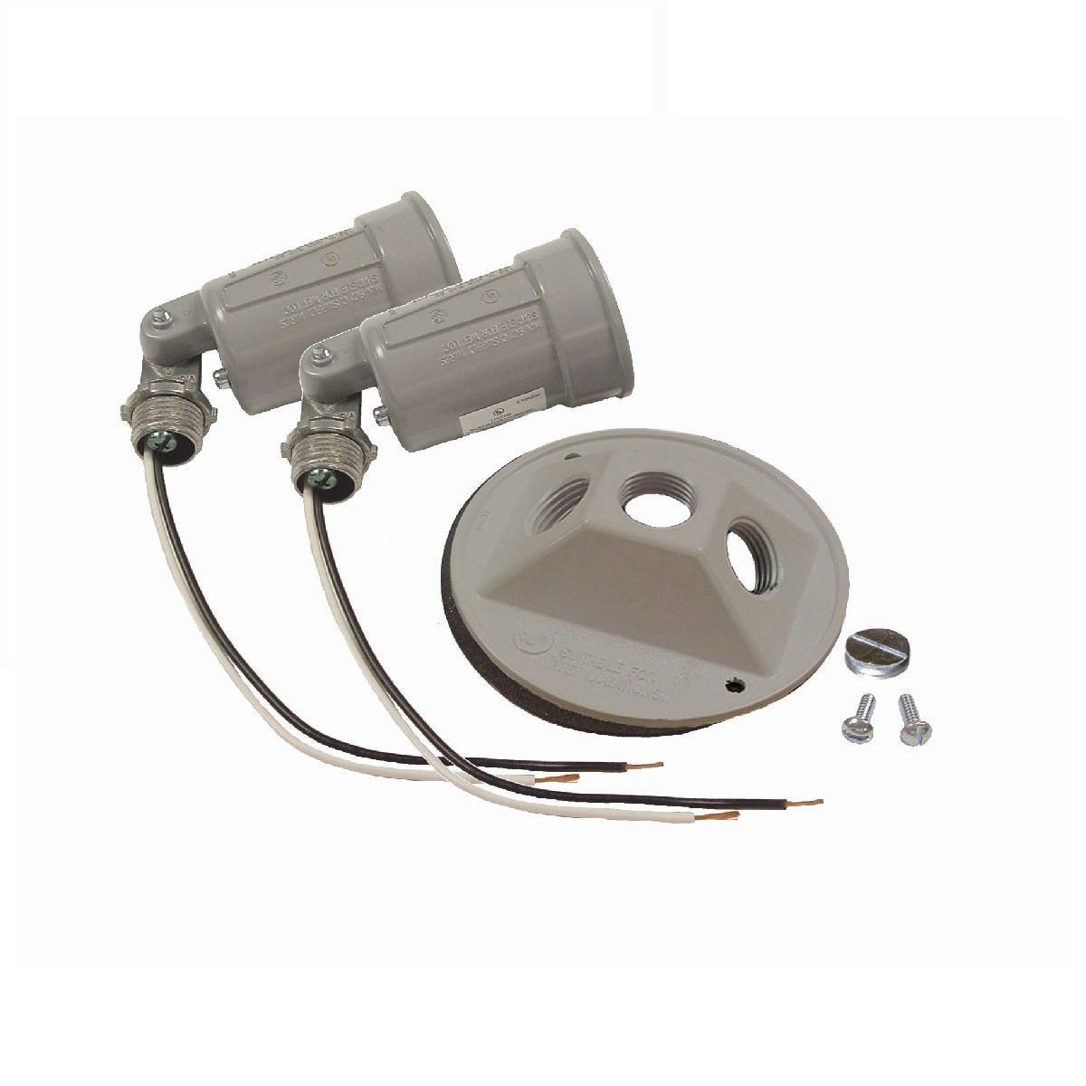 RND WP CLUSTER CVR W/(2) LAMPHOLDER GRAY