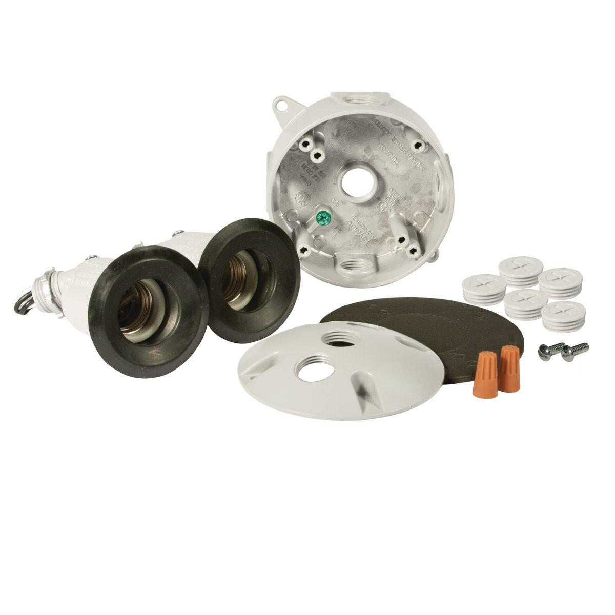 RND WP KIT BOX / CVR /(2)LAMPHOLDERS WHT