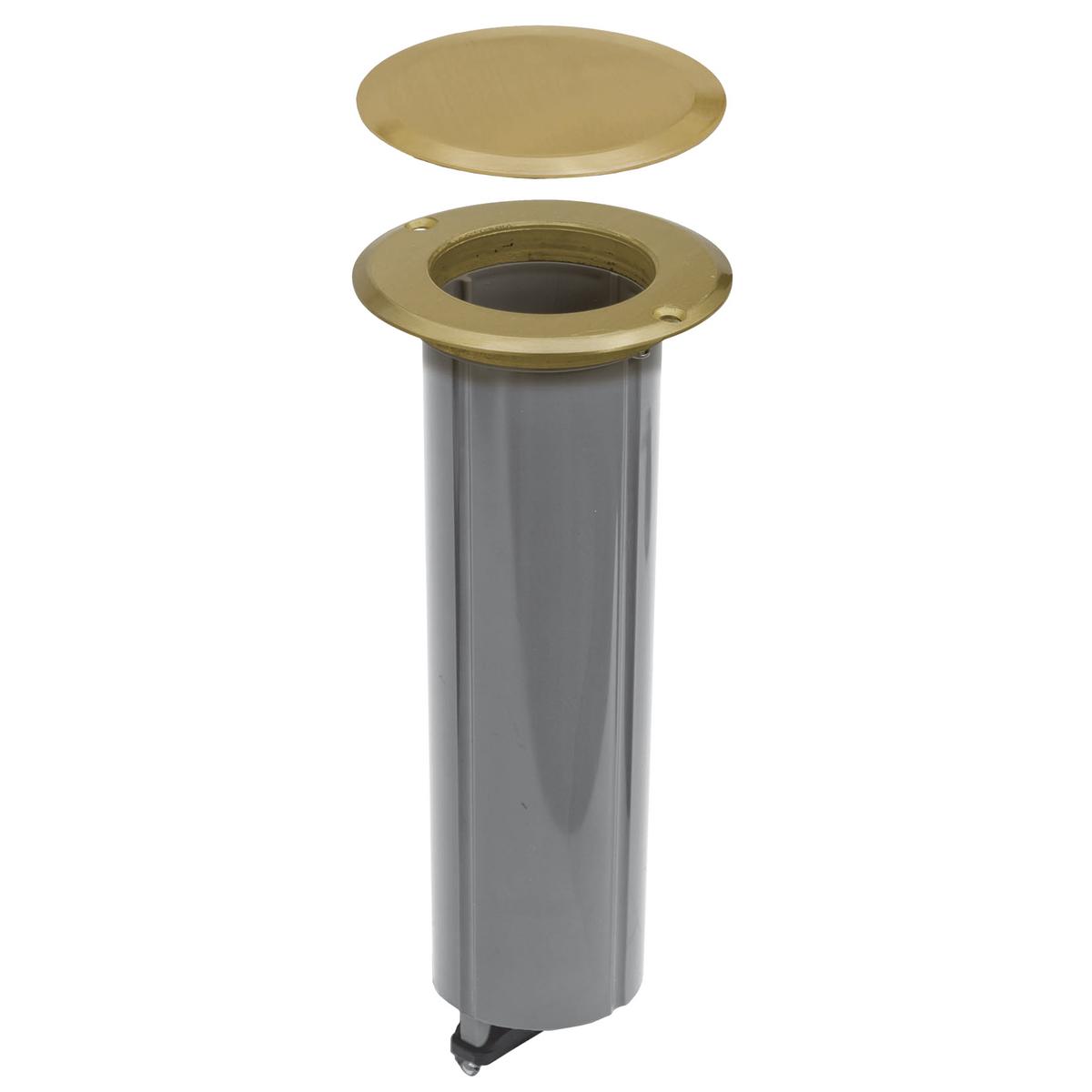 ROUND DROP-IN FLOOR BOX KIT 15AMP  BRASS