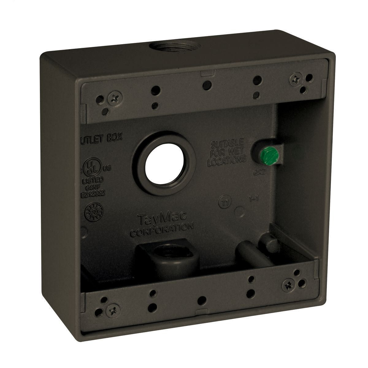 2G WP BOX (3) 1/2 IN. OUTLETS - BRONZE