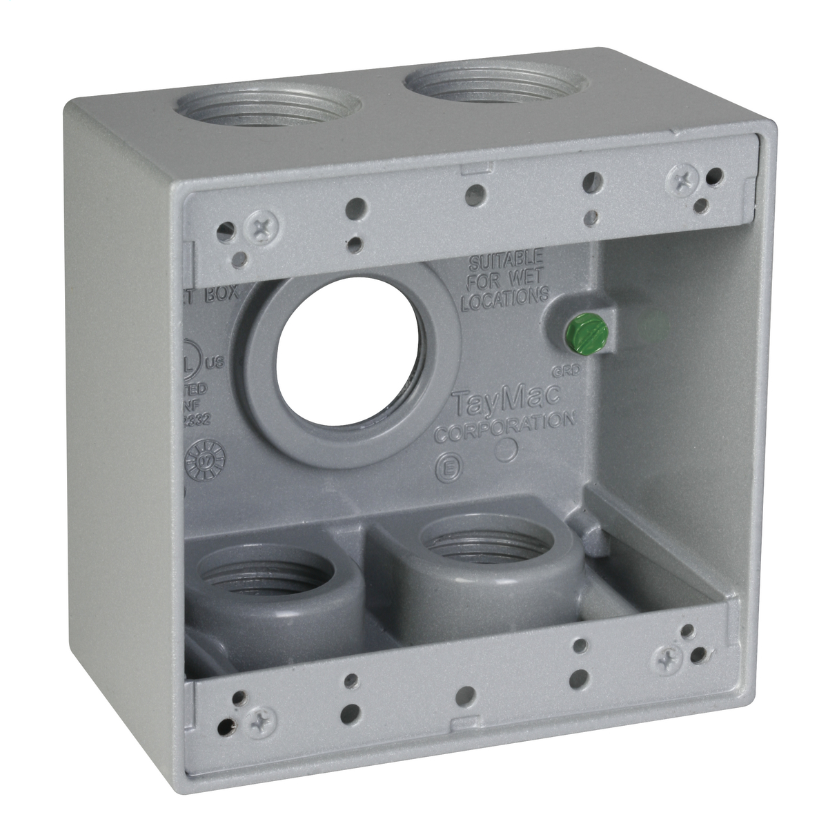 2G WP BOX (5) 1 IN. OUTLETS - GRAY