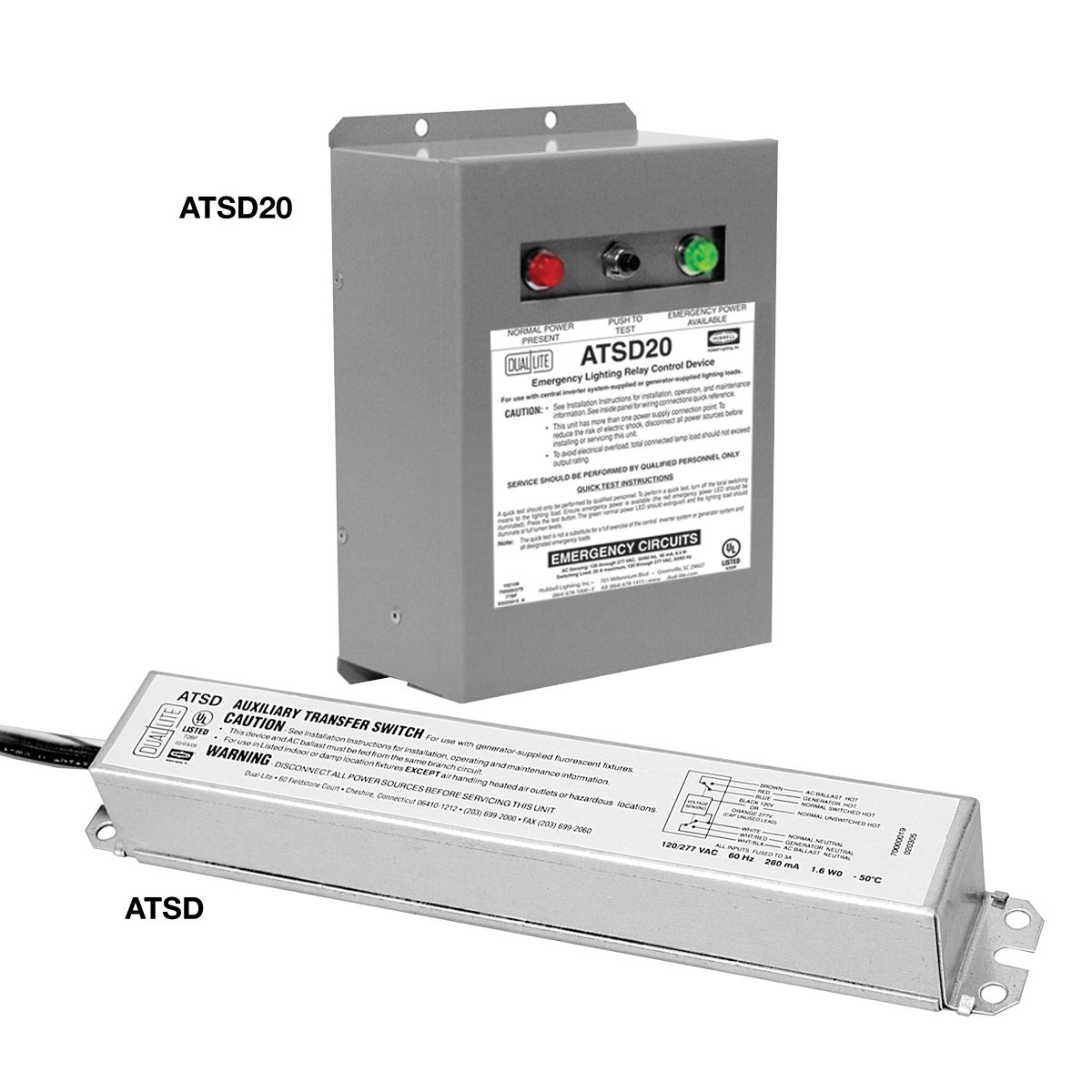 DUAL-LITE ATSD20 AUXILIARY TRANSFER SWITCH, ALLOWS USE OF SWITCHED FLUORESCENT LIGHTINGFOR EMERGENCY PURPOSES. MAX CAPACITY 3A. 120/277VAC.