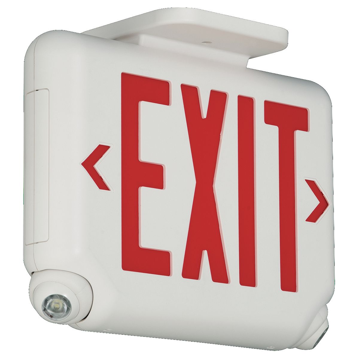 EVCURW DUAL LITE ARCHITECTURAL LED COMBINATION EXIT/EMERGENCY LIGHT, UNIVERSAL FACE, RED LETTER COLOR, WHITE FINISH.