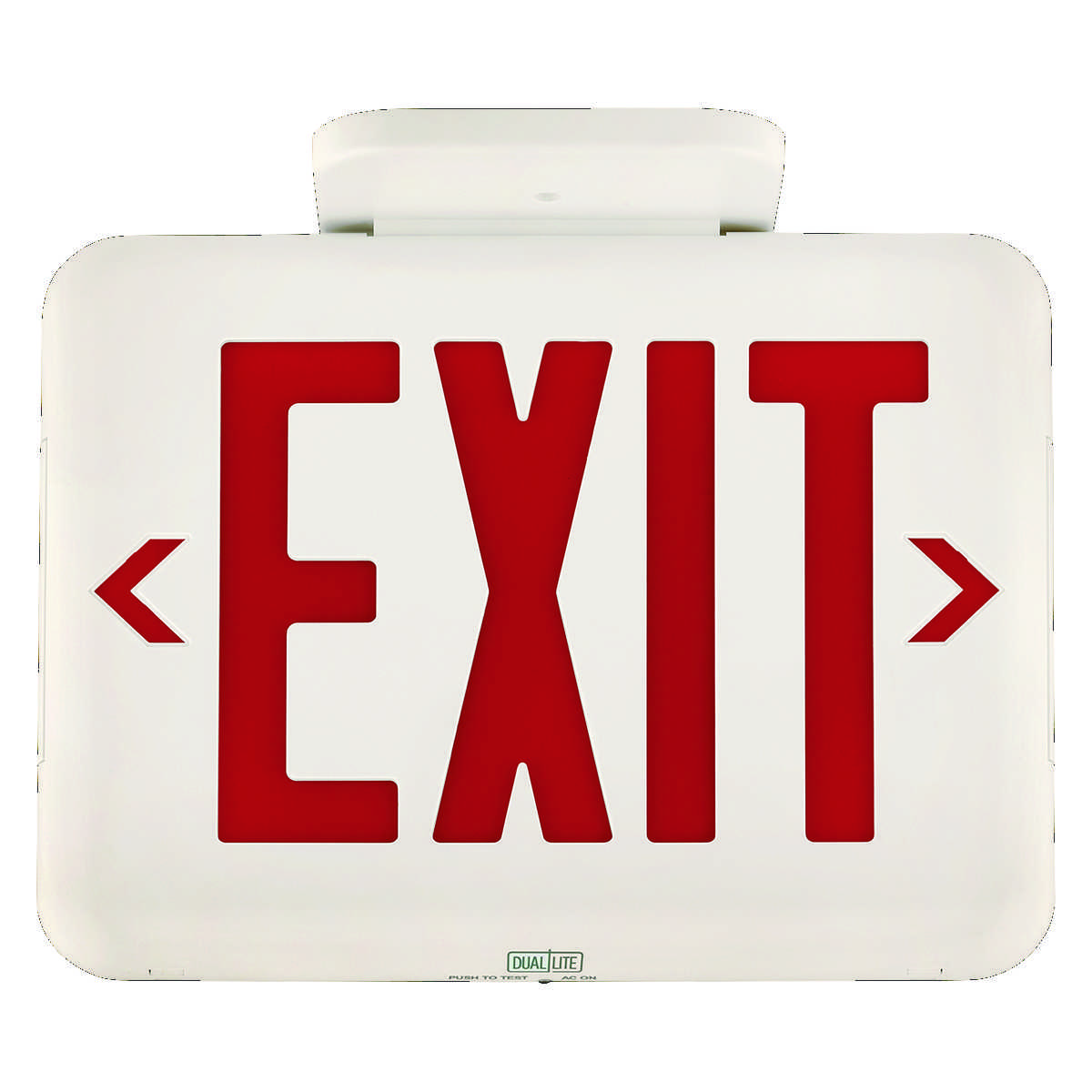 DUAL EVEURWE LED UNIVERSAL FACE EXIT SIGN, RED LETTERS, WHITE