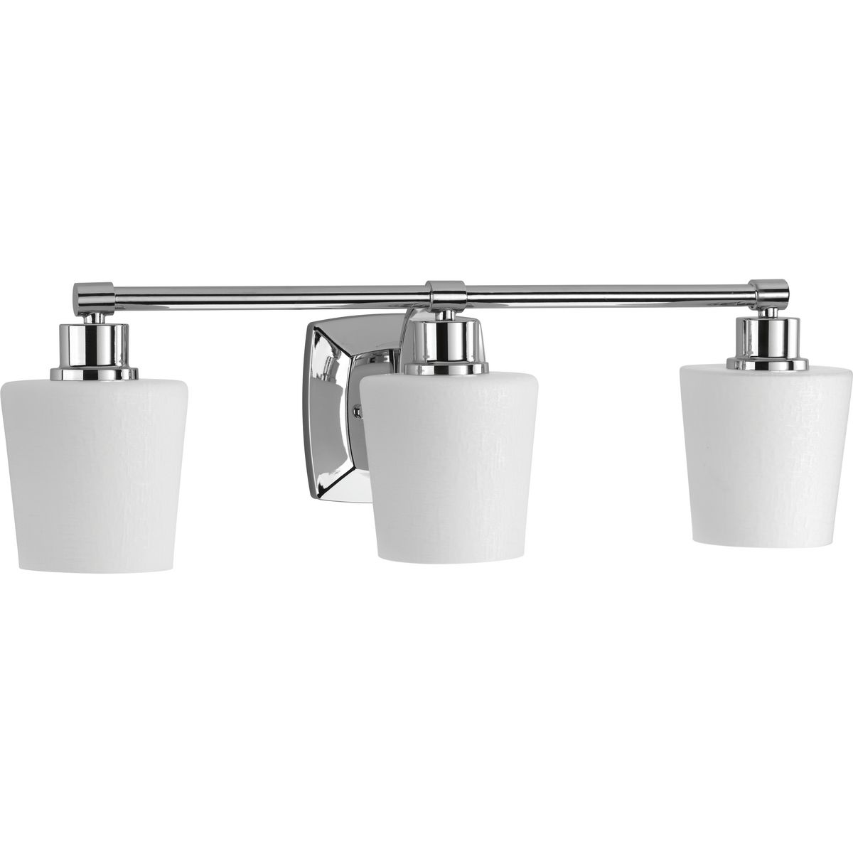 Glance Collection Three Light Polished Chrome Etched White Linen Glass Farmhouse Bath Vanity Light P300018 015 Progress Lighting