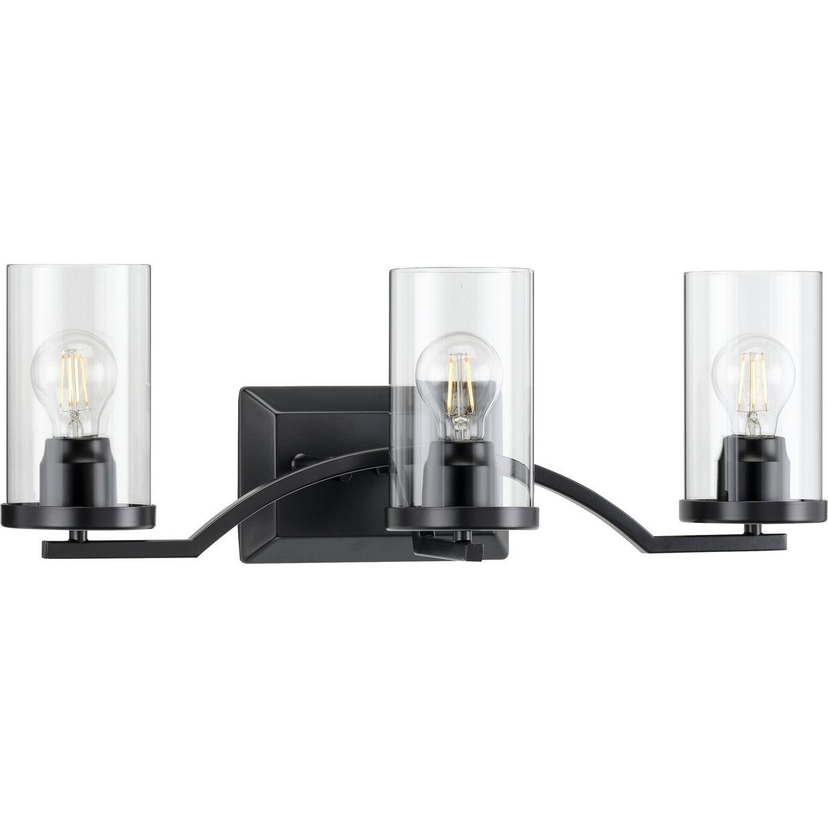 Clear Glass Modern Bath Vanity Light, Modern Bathroom Light Fixtures Matte Black