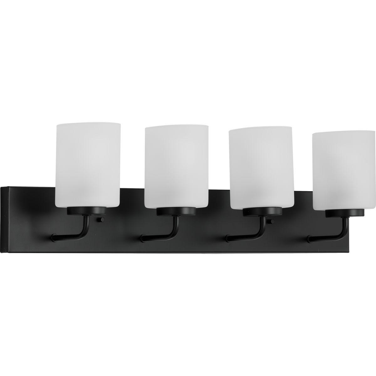 Merry Collection Four Light Etched Glass Matte Black Transitional Bath Vanity Light P300330 031 Progress Lighting