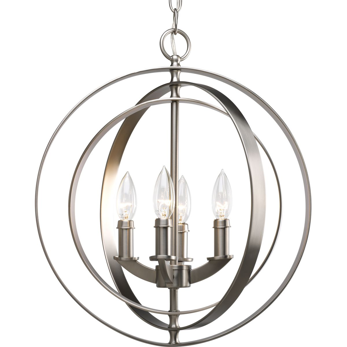 PRO P3827-126 Four Light Burnished Silver Equinox Chandelier 4X60C