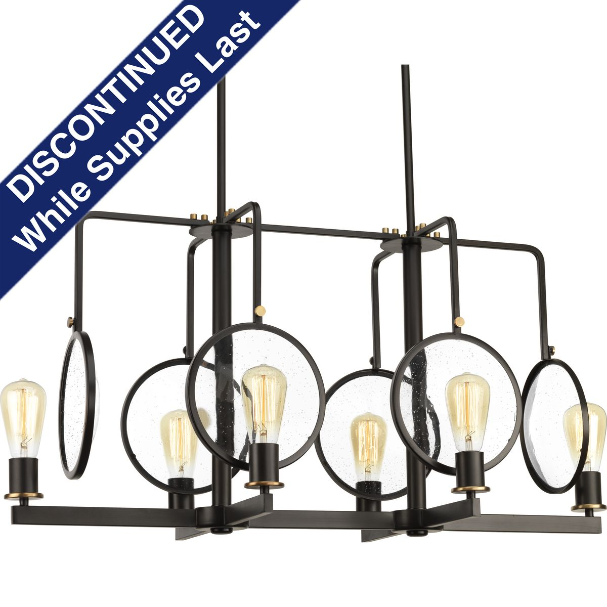 Looking Gl Collection Six Light Linear Chandelier