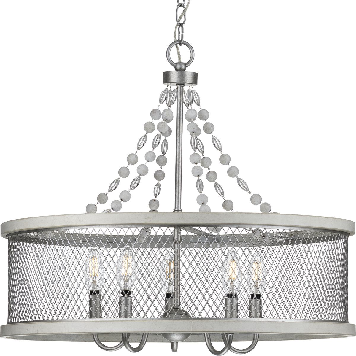 Austelle Collection Five Light Galvanized Chandelier P400205 141 Hubbell