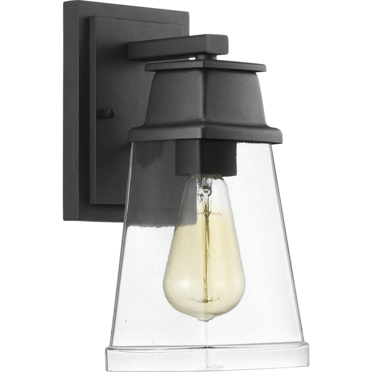 R5 Progress Lighting Strata 1-Light 5.5 in.Outdoor Black LED Wall Lantern Sconce