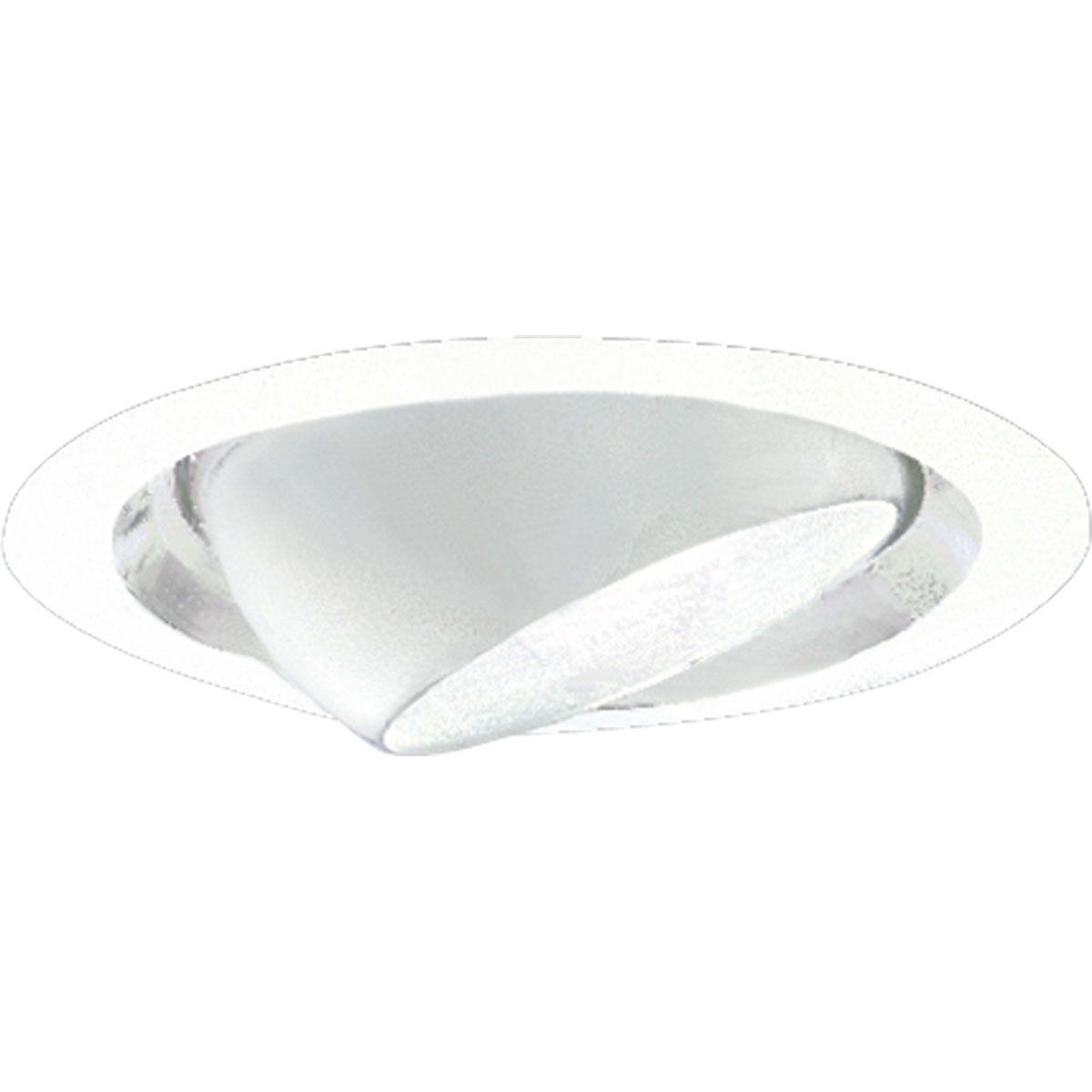 PROP6676-29 EYEBALL; SATIN WHITE; 6 INCH NOMINAL APERTURE SIZE; ROUND APERTURE SHAPE; PAR30/R30 75 W INCANDESCENT LAMP; PAR20/R20 50 W FLUORESCENT LAMP; INSULATED CEILING; SIZE 7 3/4 INCH DIA; PROGRESS LIGHTING[R] BRAND, PROGRESS