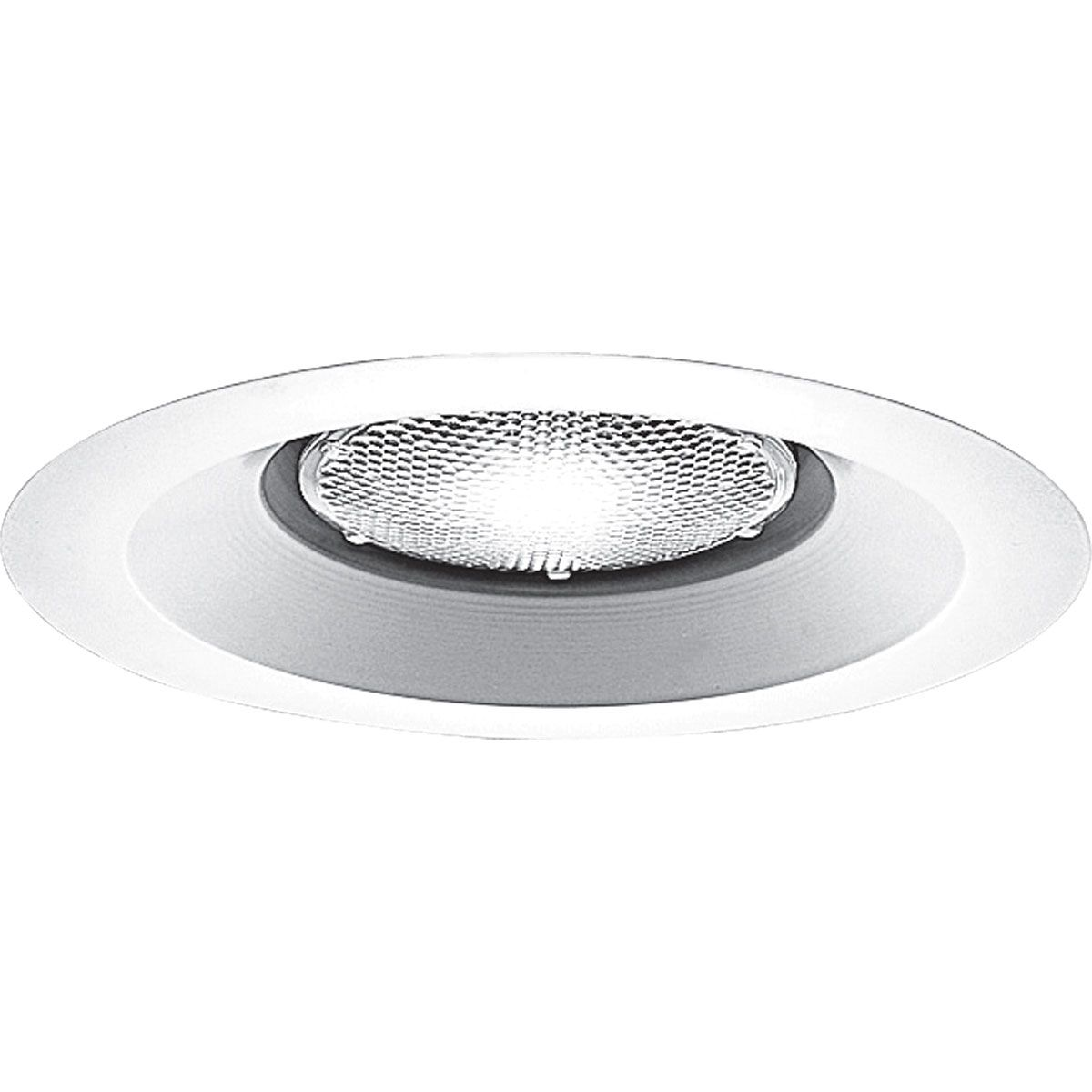 PROP8072WL-28 OPEN SHOWER TRIM WITH FLANGE; METAL FLANGE; WHITE; 6 INCH NOMINAL APERTURE SIZE; ROUND APERTURE SHAPE; PAR30 50 W INCANDESCENT LAMP; APPLICATION DAMP/WET LOCATION; USED ON P87-AT/P187-TG SERIES, PROGRESS