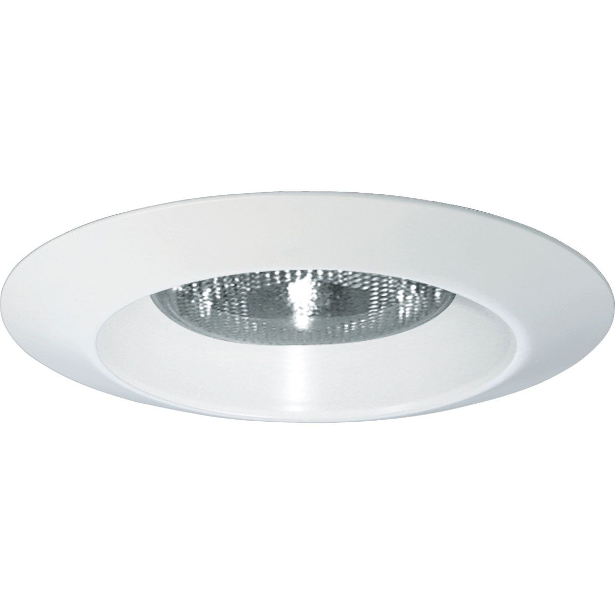 PROP8074WL-28 OPEN SHOWER TRIM WITH FLANGE; METAL FLANGE; WHITE; 6 INCH NOMINAL APERTURE SIZE; ROUND APERTURE SHAPE; PAR38 75 W INCANDESCENT LAMP; SIZE 8-3/4 INCH; APPLICATION DAMP/WET LOCATION; USED ON P87-AT/P187-TG SERIES, PROGRESS