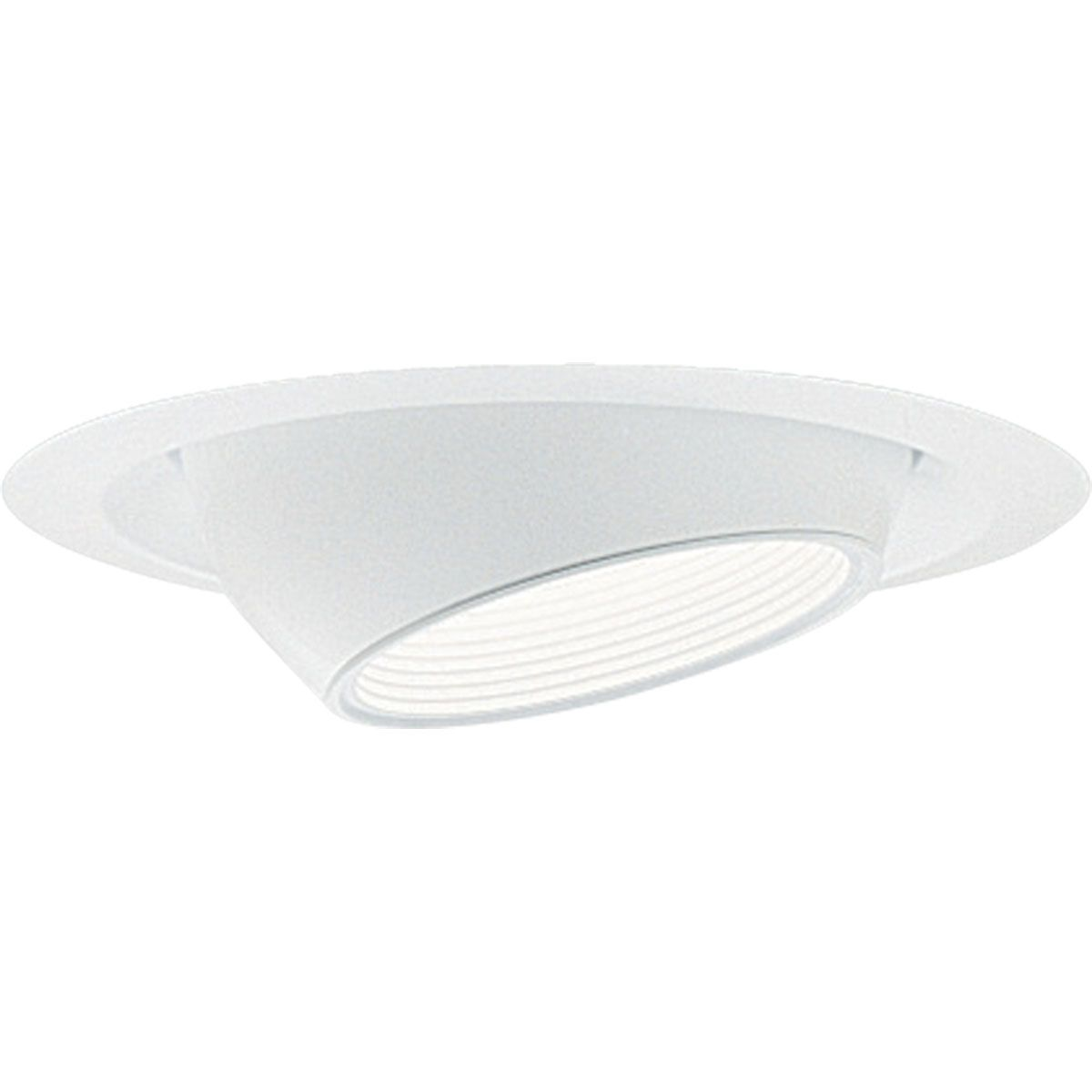 PROP8077-28 MINI EYEBALL WITH BAFFLE; WHITE; 6 INCH NOMINAL APERTURE SIZE; ROUND APERTURE SHAPE; R20/PAR20/PAR16 75 W INCANDESCENT LAMP; PAR20/PAR16/R20 75 W FLUORESCENT LAMP; INSULATED/NON INSULATED CEILING; SIZE 7 3/4 INCH DIA; PROGRESS LIGHTING[R] BRAND, PROGRESS