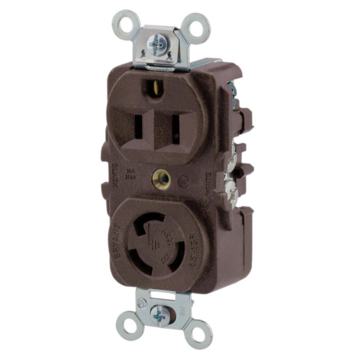 Straight Blade/Locking Combination Duplex Receptacle, 15A 125V, Straight Blade and Locking, Brown