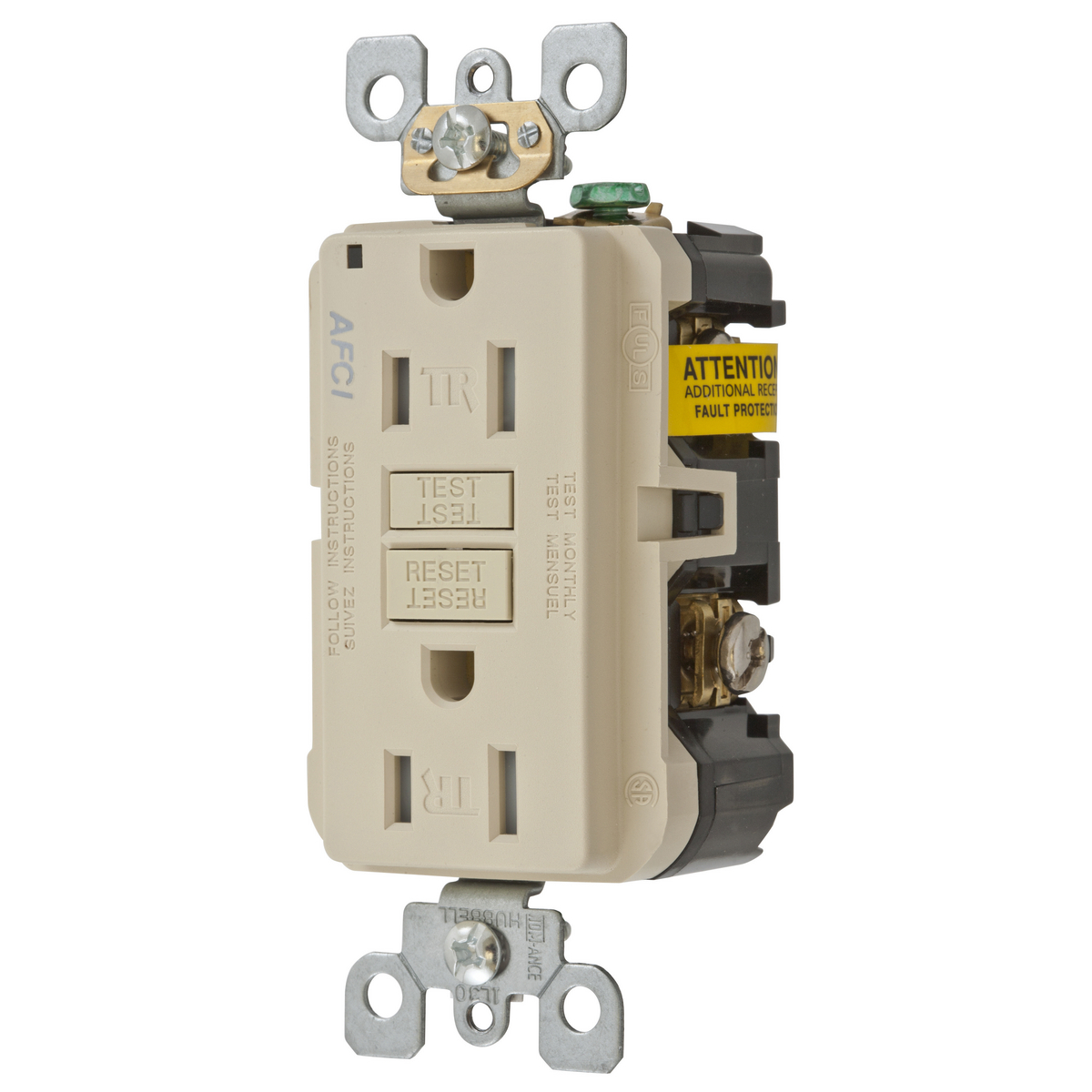 15A ARC FAULT TR RECEPTACLE IVORY