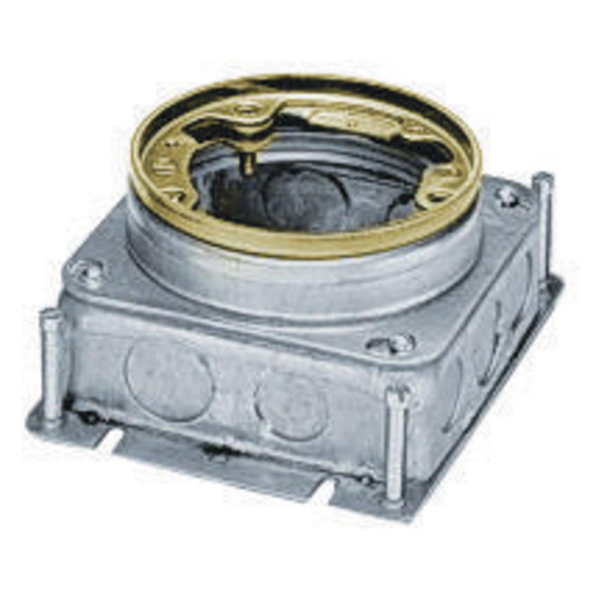 Hubbell B2529 37.3 In? Brass Stamped Steel Round Floor Box