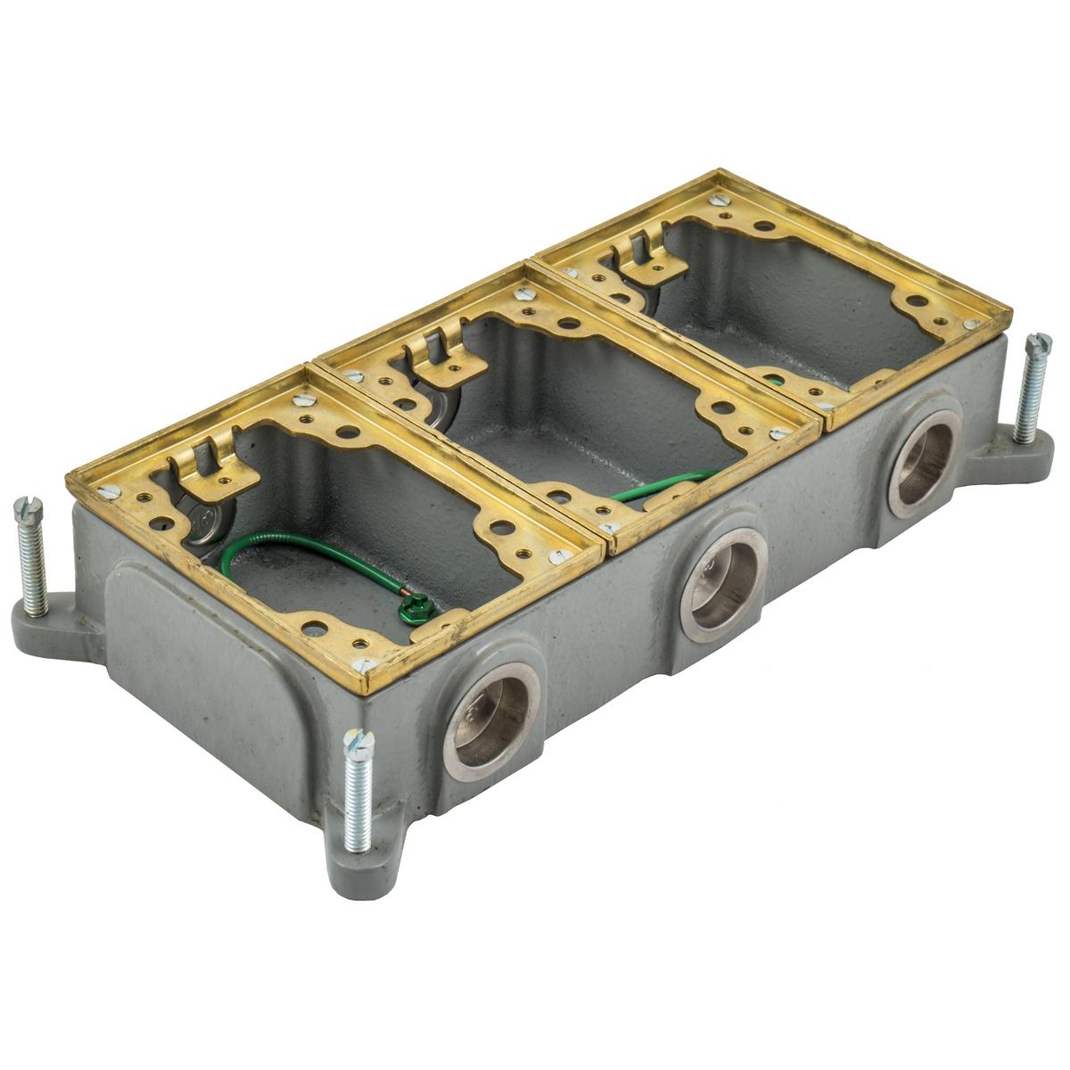 Hubbell B4314 3-Gang 16 In? Brass Cast Iron Rectangular Floor Box