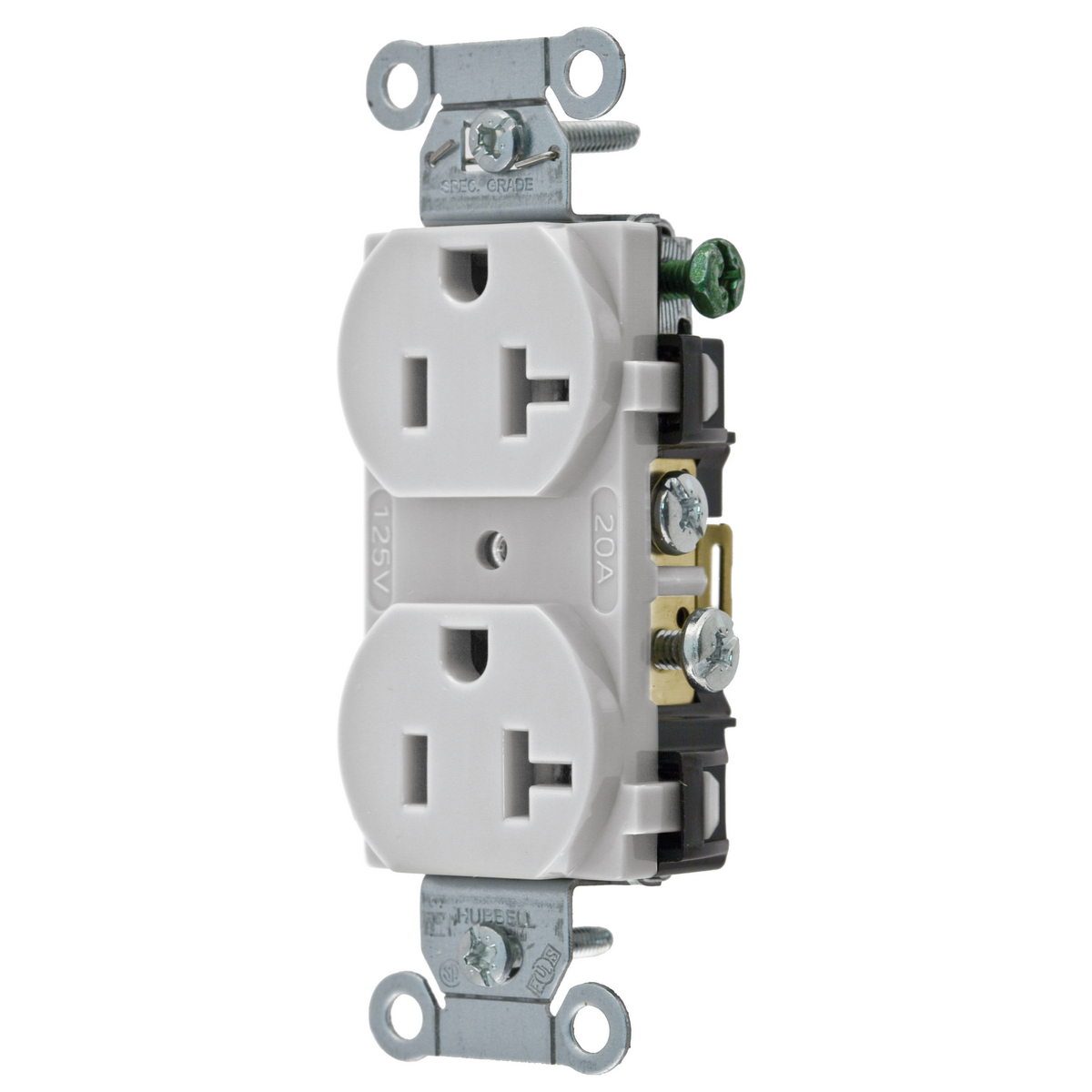 Hubbell Inc. CR20OW Duplex Receptacle, 20 Amp, 125 Volt, White ...