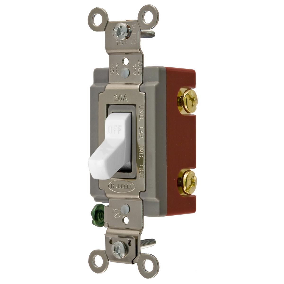 Hubbell CS1221WU USA 120/277 Volt 20 Amp 1-Pole White Construction Grade Toggle Switch
