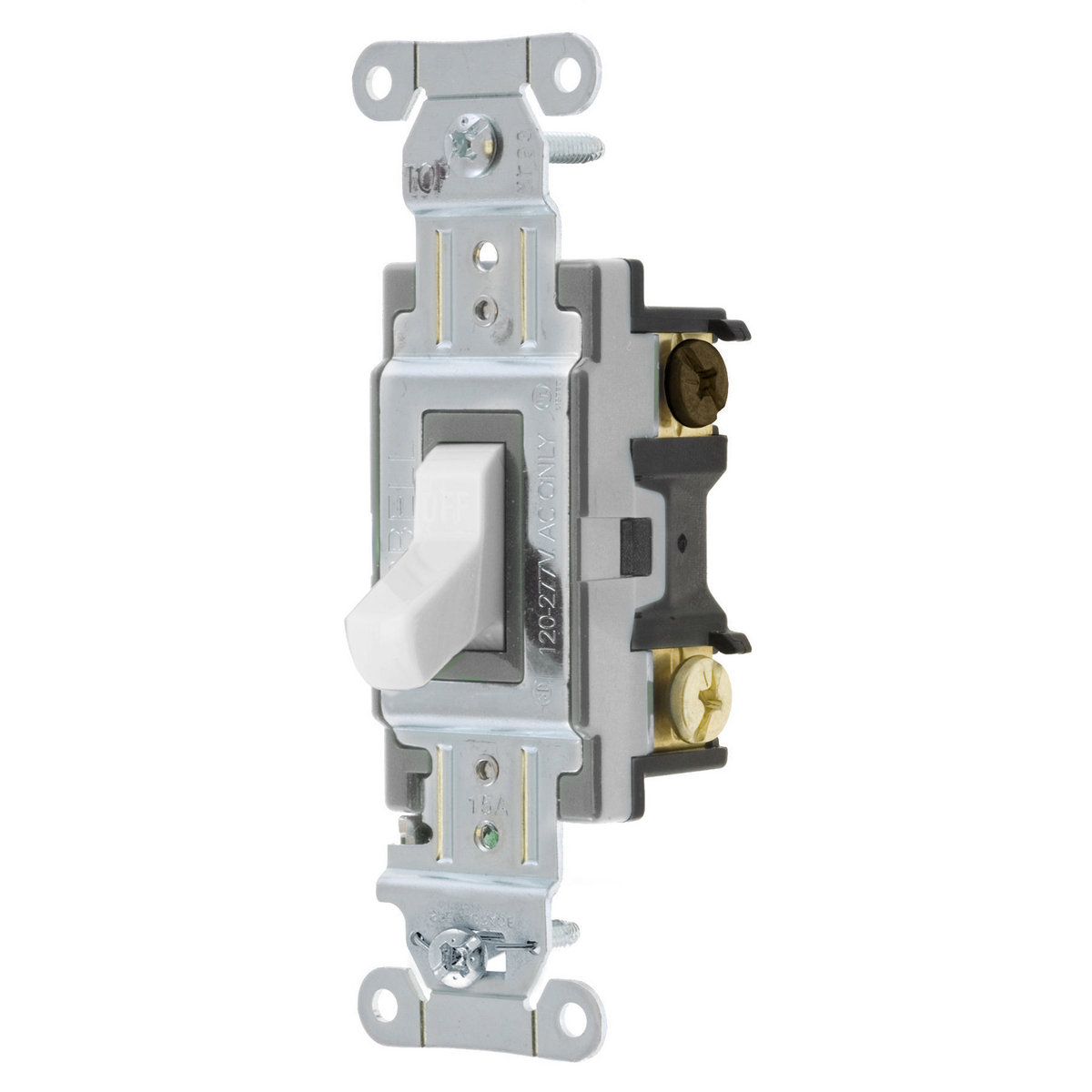 Hubbell CS315-W 15A 120/277V 3Way White Toggle Switch. Spec Grade Commercial Series