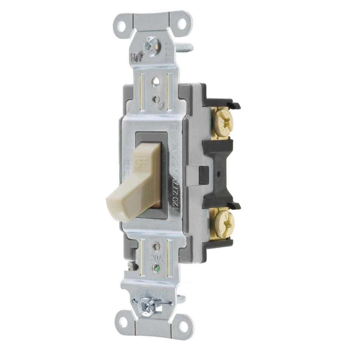 Hubbell CSB120I 20 Amp 120/277 VAC 1-Pole Ivory Toggle Switch