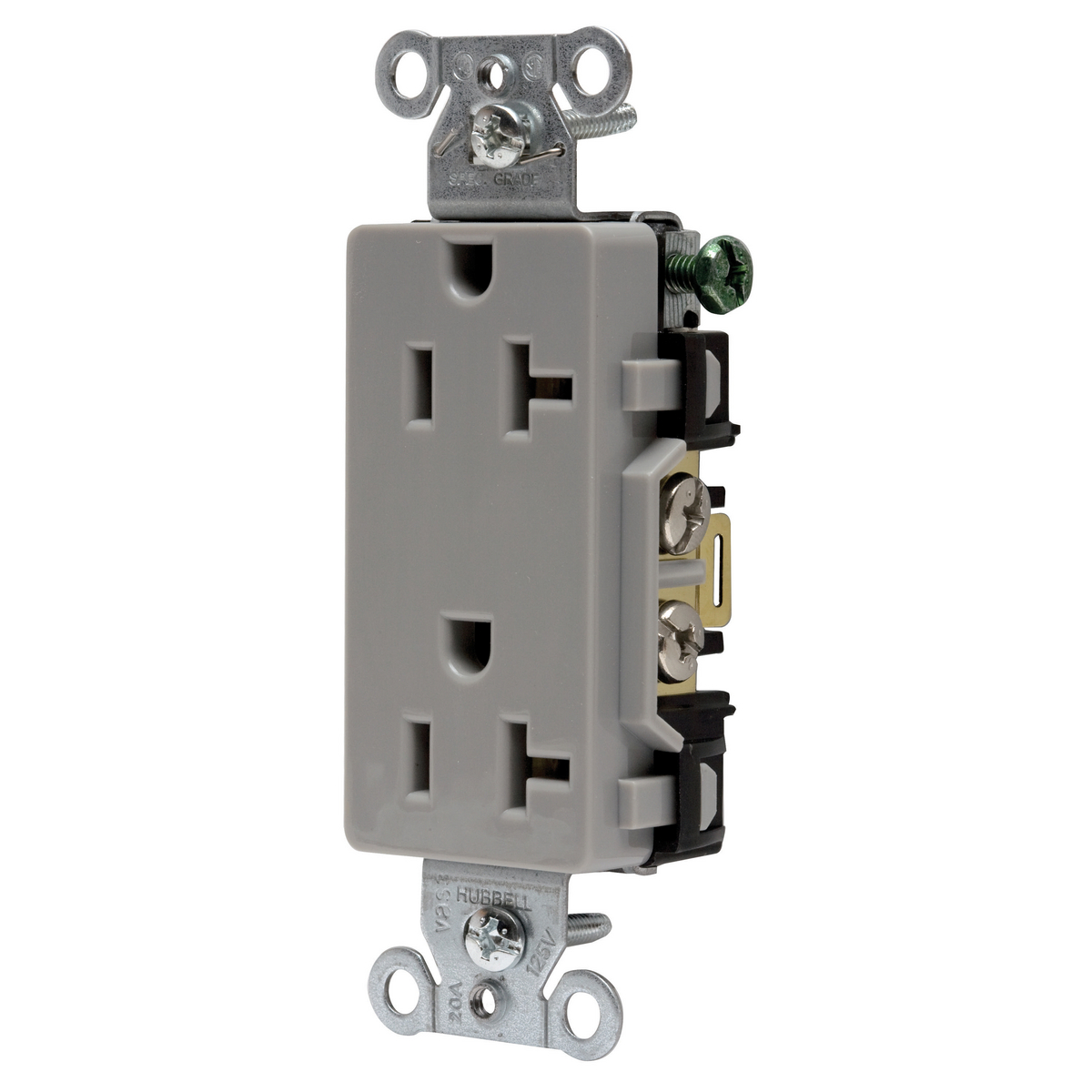 DECO RCPT, COMM GRD, 20A 125V, 5-20R, GY