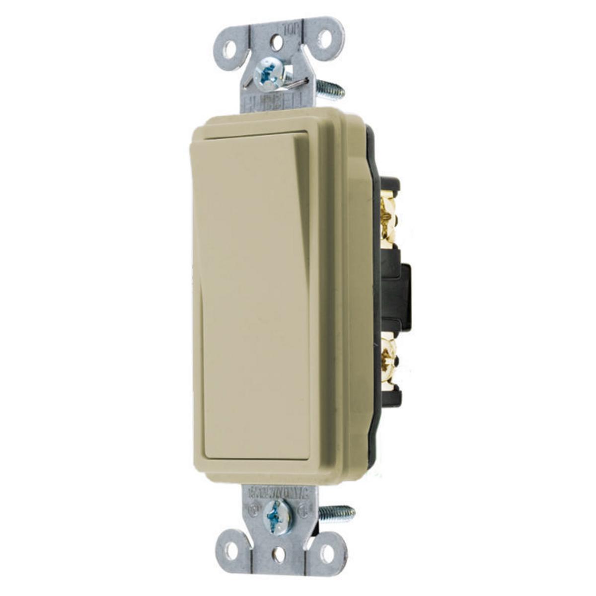 Hubbell DS115I 15 Amp 120/277 VAC 1-Pole Ivory Rocker Switch