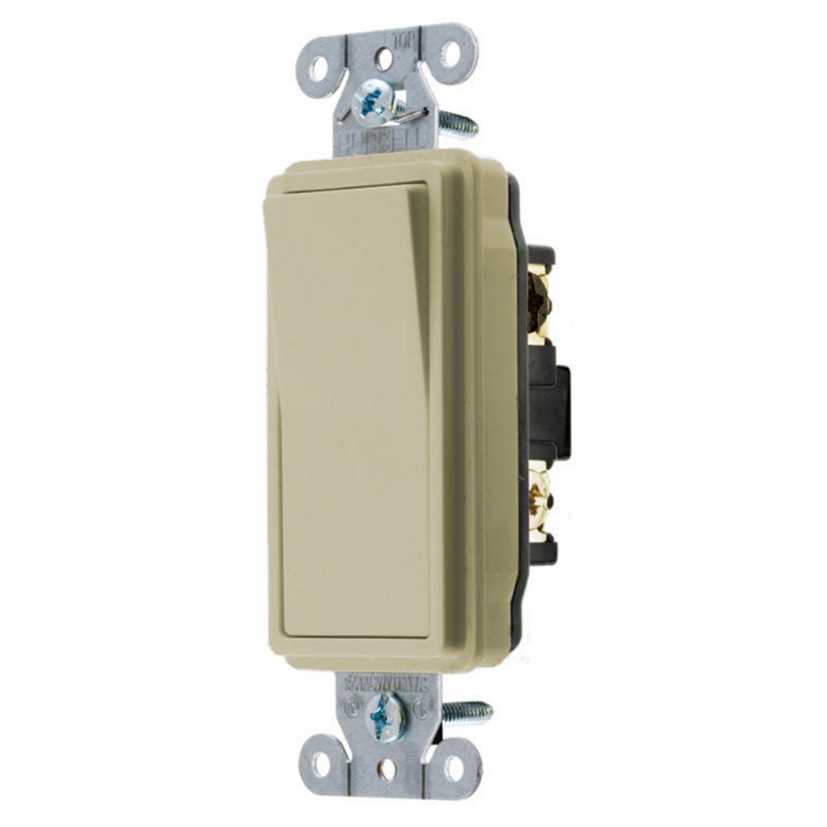 Hubbell DS315I 15 Amp 120/277 VAC 3-Way Ivory Rocker Switch