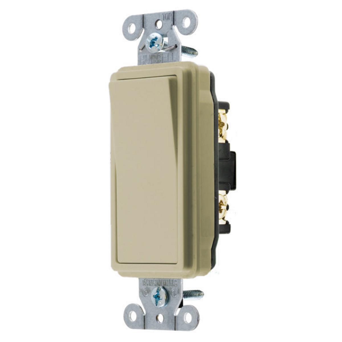 Hubbell DS420I 20 Amp 120/277 VAC 4-Way Ivory Rocker Switch
