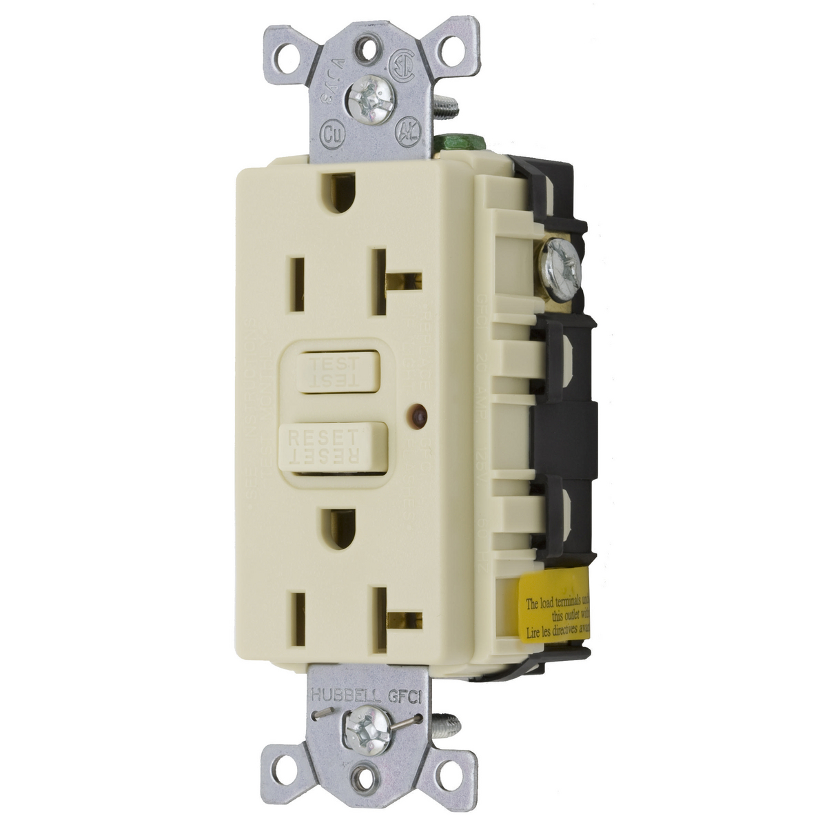 Hubbell GF20ILA 20 Amp 125 Volt 2-Pole 3-Wire NEMA 5-20R Ivory GFCI Receptacle with LED Indicator
