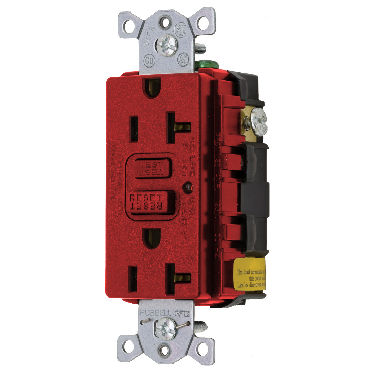 Hubbell GF20RLA 20 Amp 125 Volt 2-Pole 3-Wire NEMA 5-20R Red GFCI Receptacle with LED Indicator