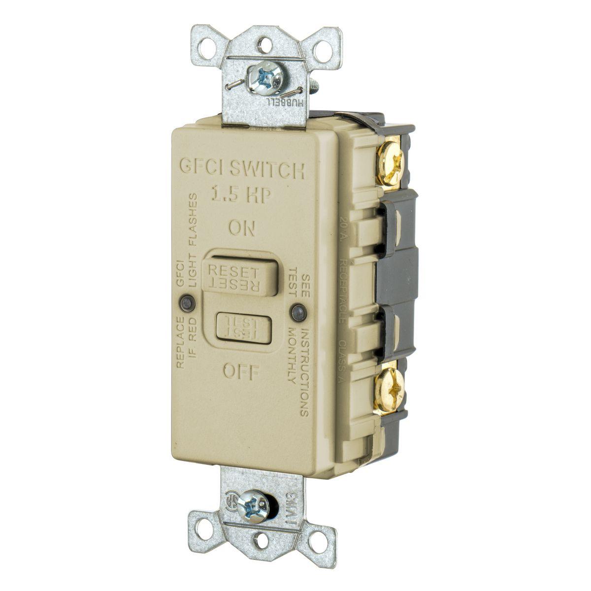 20A 125V BLANK FACE GFCI HP IVORY