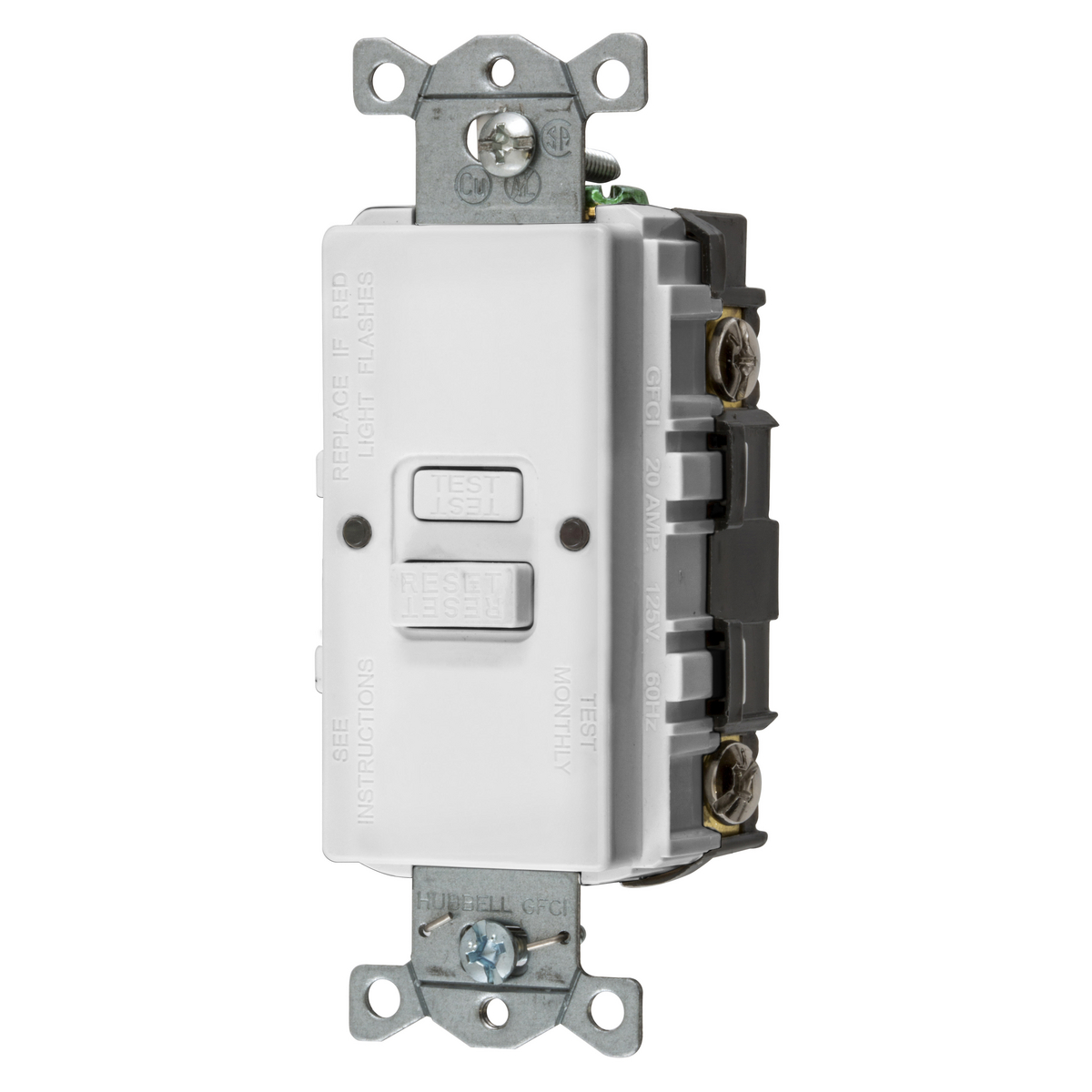 Hubbell GFBFST20W 20 Amp GFCI Receptacle