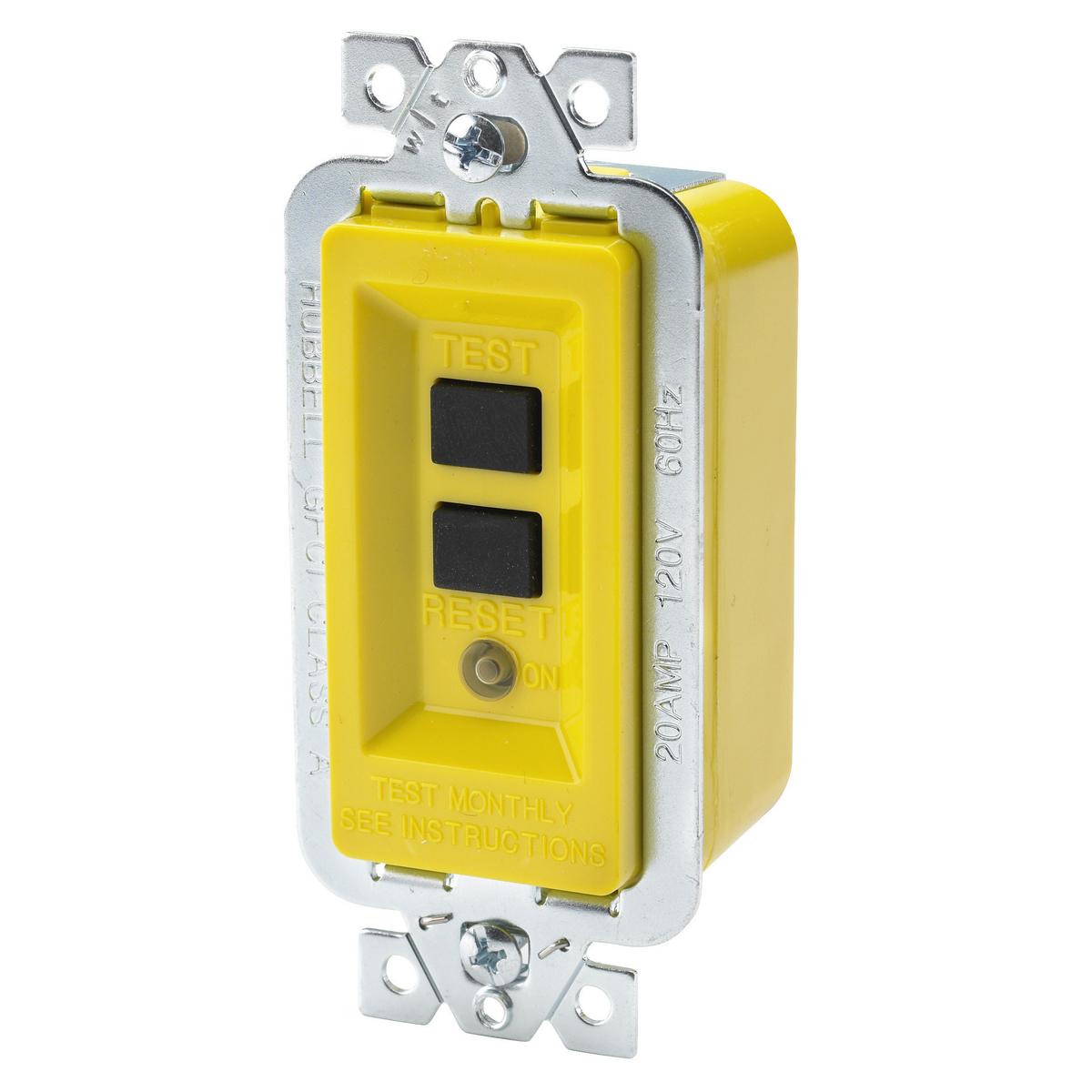 Hubbell GFM20 20 Amp 120 VAC Yellow Manual Set GFCI Module