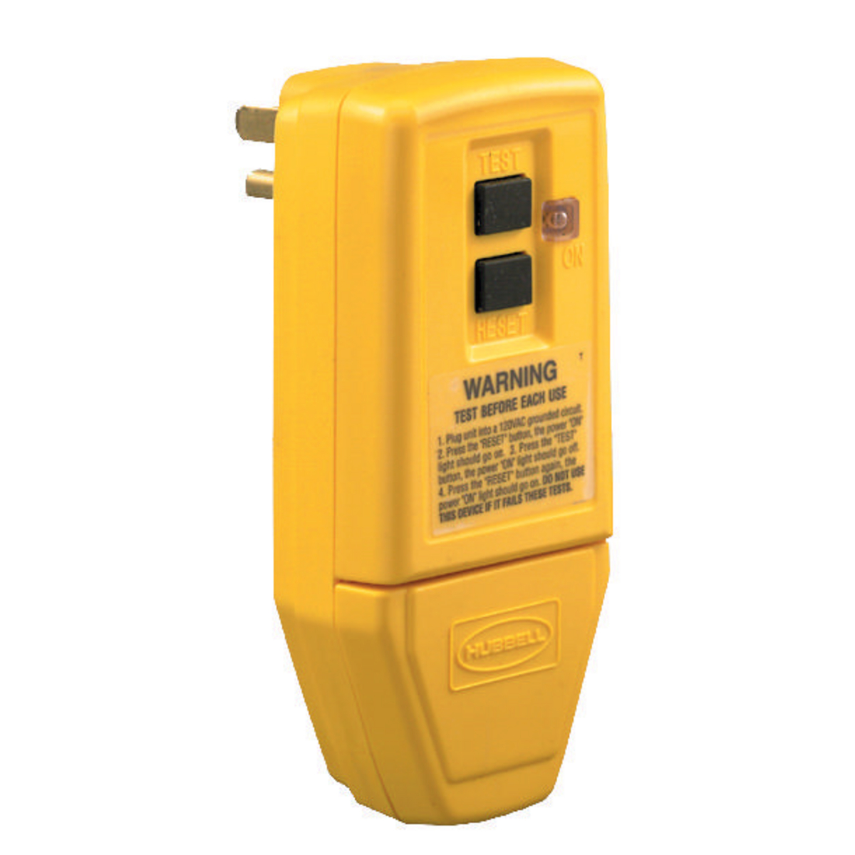 Hubbell GFP5266CY 15 Amp 125 Volt 2-Pole 3-Wire NEMA 5-15P Yellow Straight Blade Portable GFCI Plug