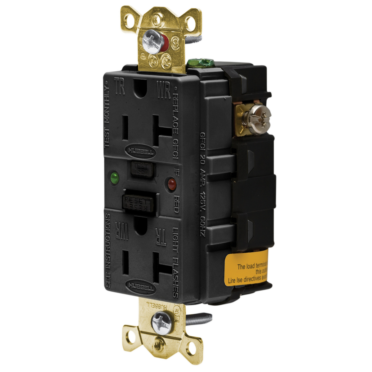Hubbell GFR5362SGBK20A/125V INDL. TAMPER ST GFCI, BLACK