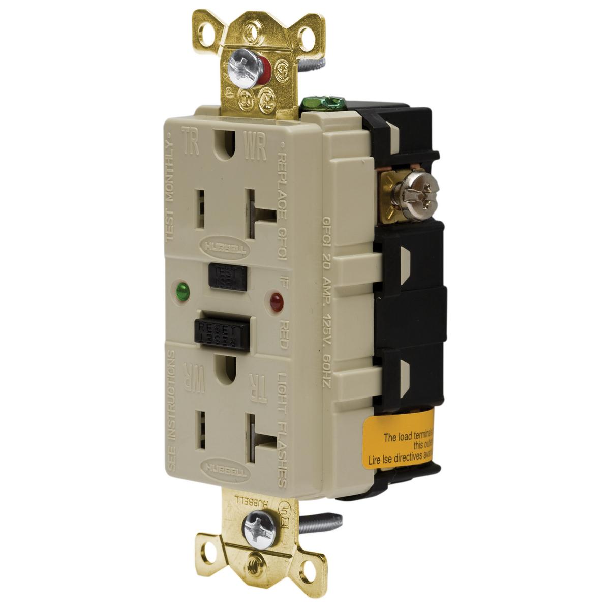 Hubbell GFR5362SGI 20 Amp 125 Volt 2-Pole 3-Wire NEMA 5-20R Ivory GFCI Receptacle with LED Indicator