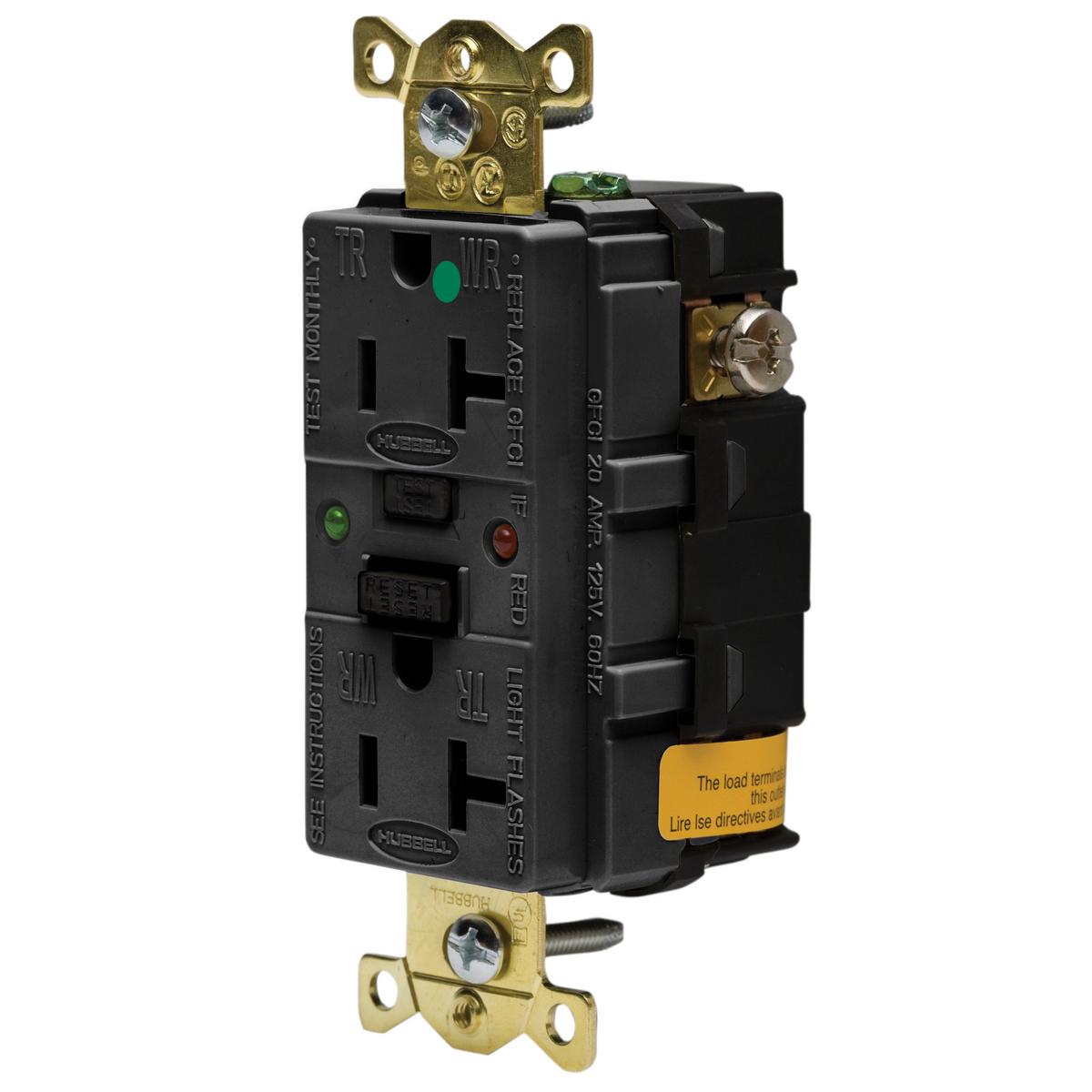 Hubbell GFR8300SGBK20A 125V IND HG TAMPER ST GFCI, BLACK