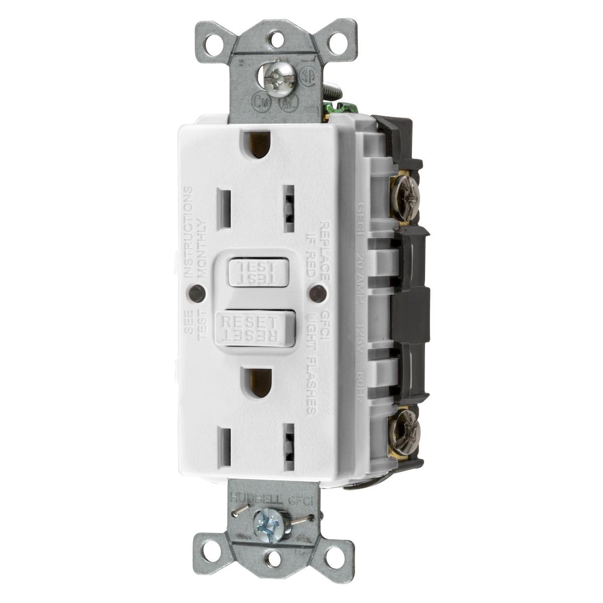 Hubbell GFRST15W 15 Amp 125 Volt 2-Pole 3-Wire NEMA 5-15R White GFCI Receptacle