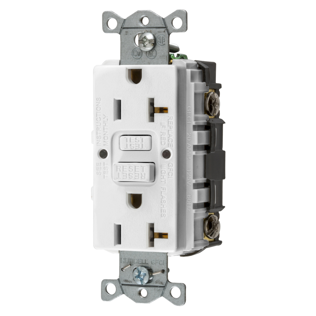 Hubbell GFRST20W 20A GFCI Receptacle, Self-Test, 125V 2P3W - White