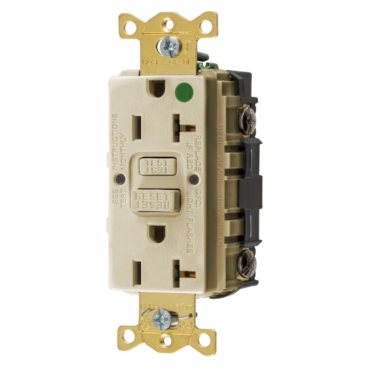 Hubbell GFRST83I 20 Amp 125 Volt NEMA 5-20R Ivory Commercial Standard GFCI Receptacle