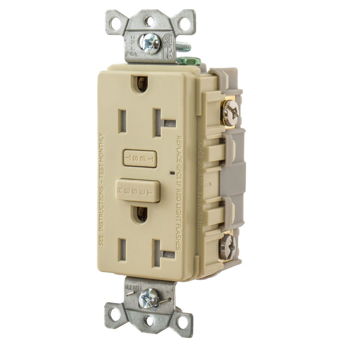 WIRING DEVICE-KELLEMS,GFT20I,20A HUBBELL PRO GFR TR IVORY
