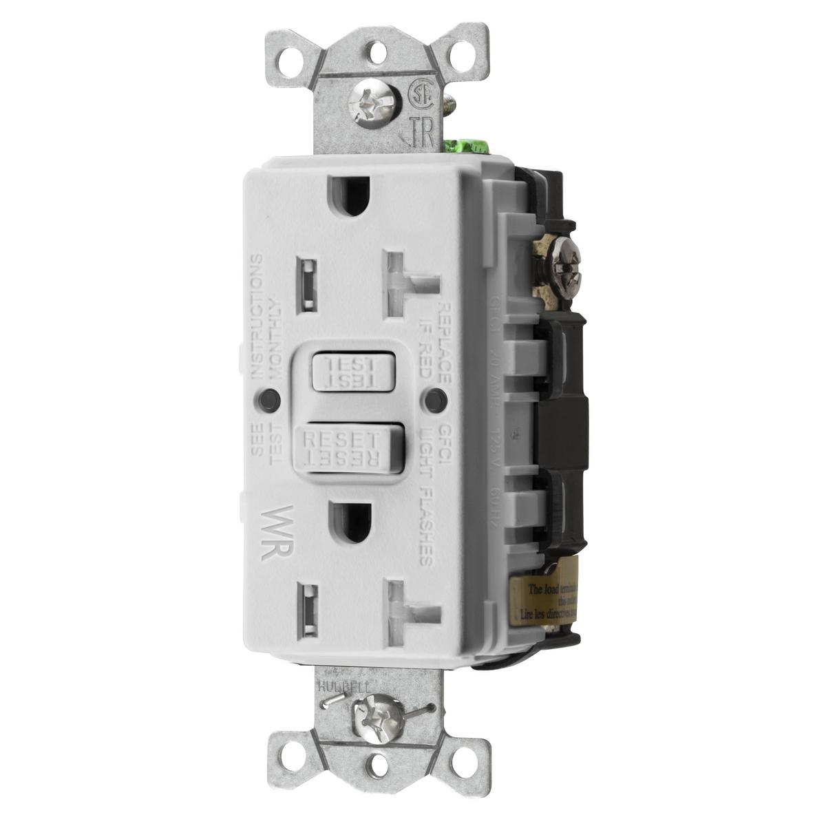 Hubbell GFTWRST20W 20 Amp 125 Volt 2-Pole 3-Wire NEMA 5-20R White GFCI Receptacle
