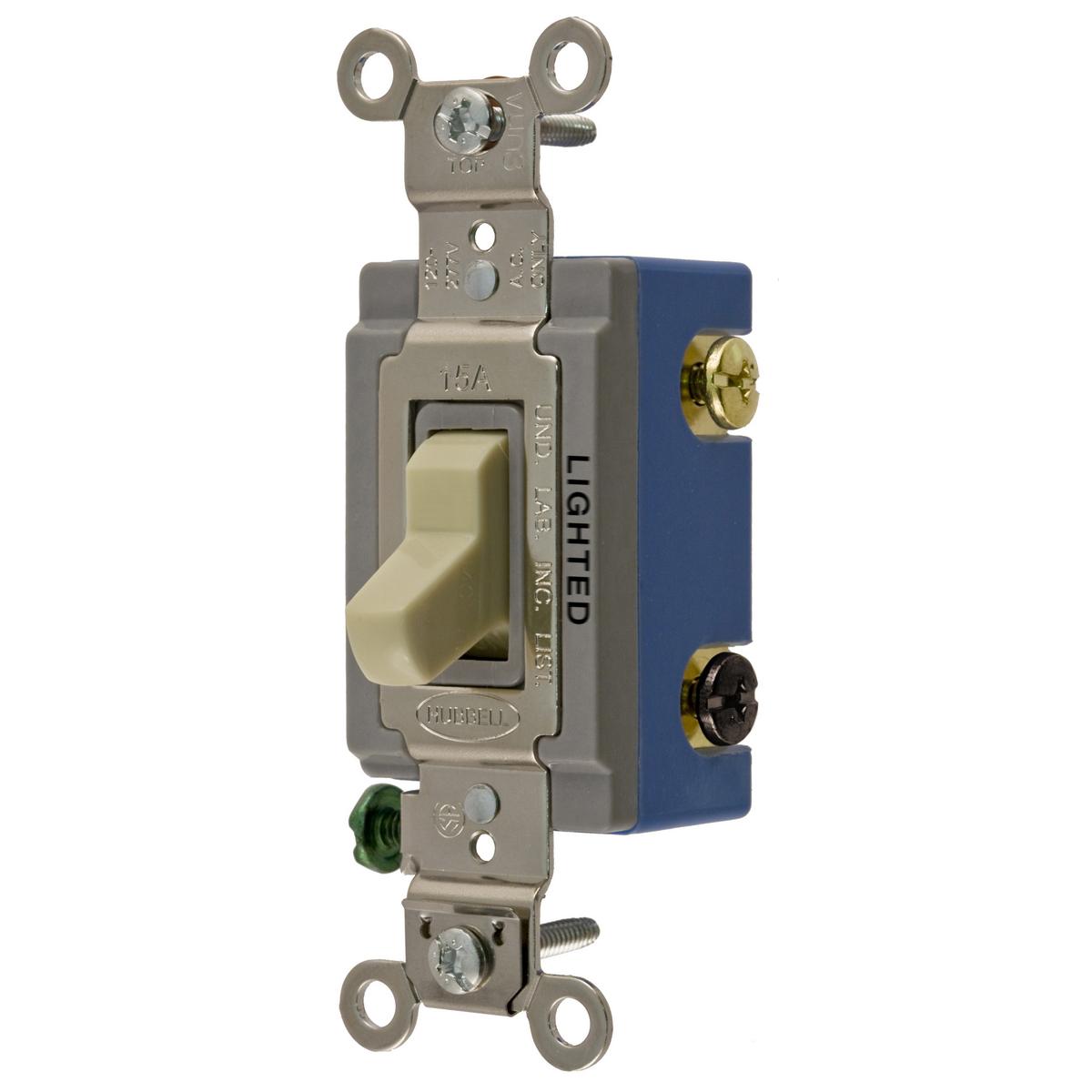 Hubbell HBL1203IL 15 Amp 120/277 VAC 3-Way Ivory Toggle Switch