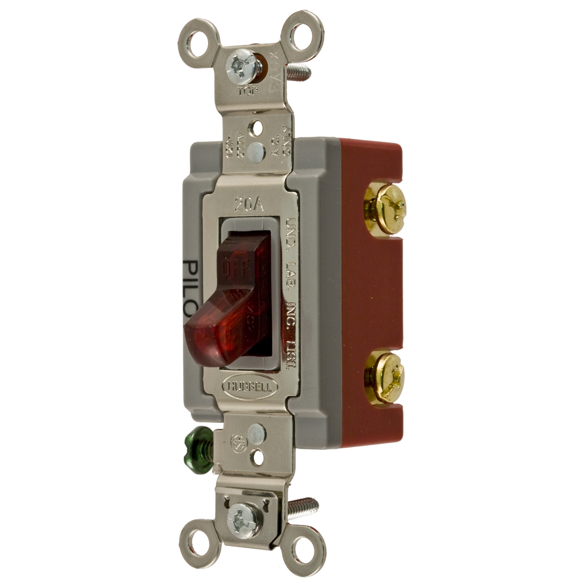 Hubbell HBL1222PL 20 Amp 120/277 VAC 2-Pole Red Toggle Switch