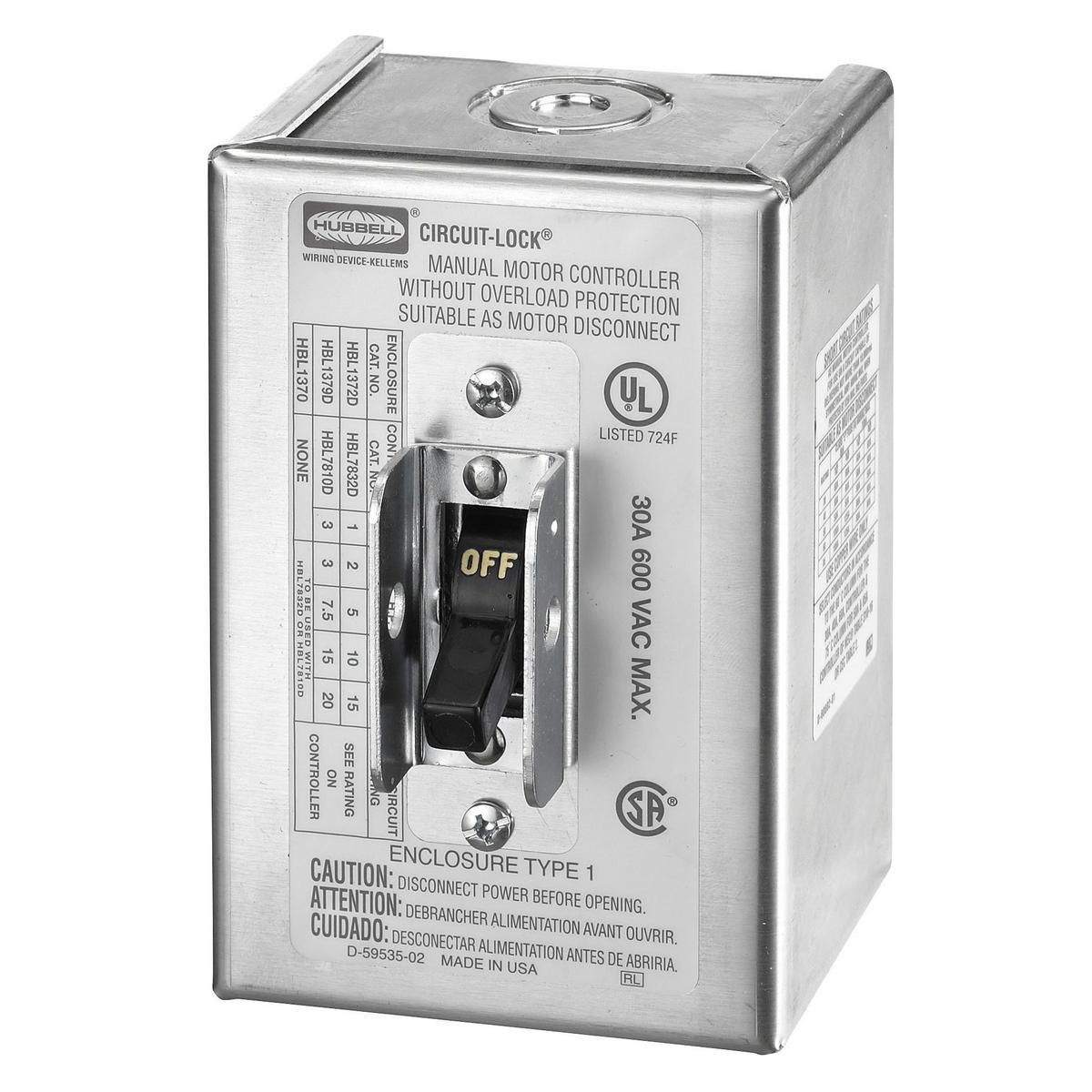 Hubbell HBL1370 30 Amp 600 VAC NEMA 1 Metallic Manual Motor Controller