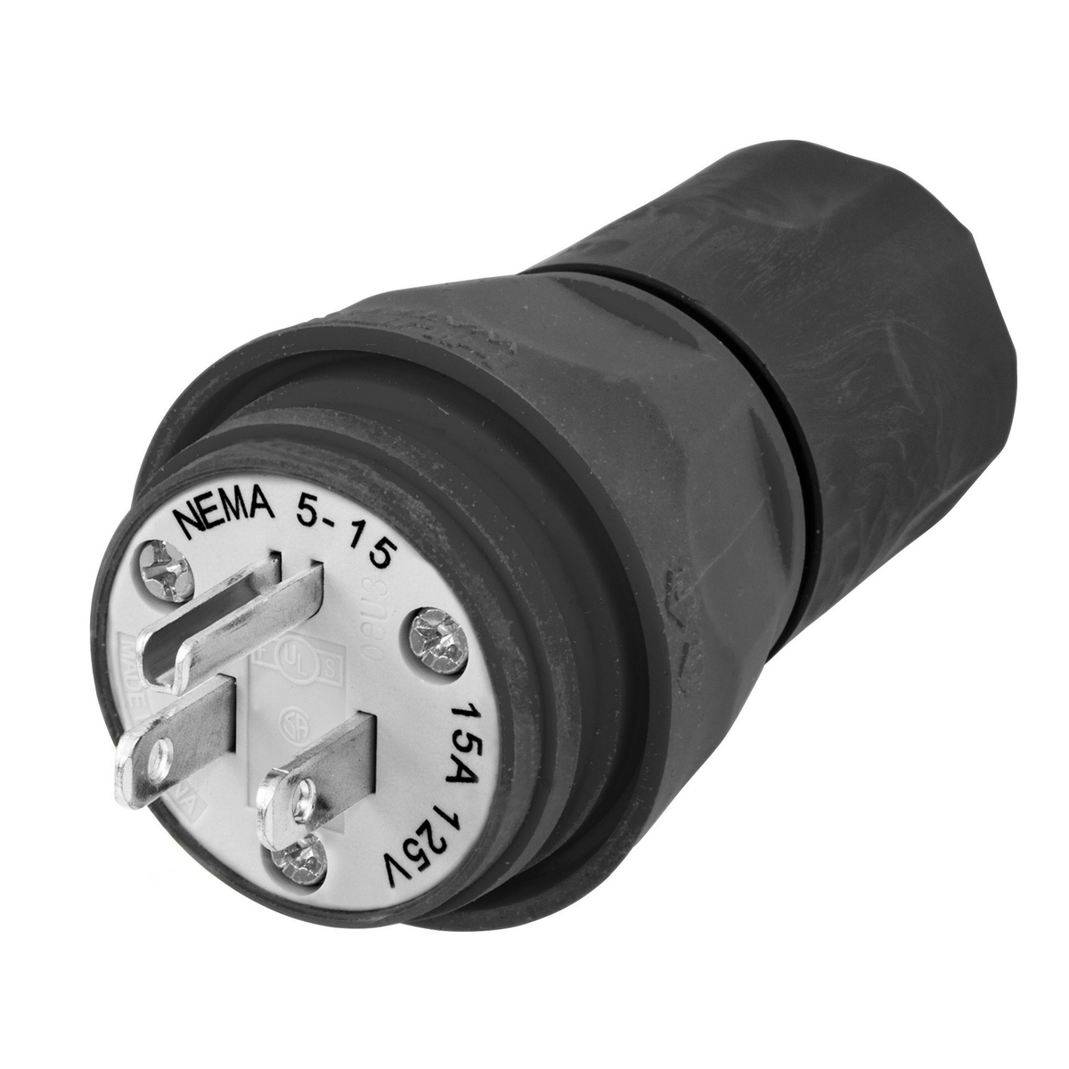Hubbell HBL14W47BK Plug, w/TIGHT, 5-15P, 15A 125V, BK