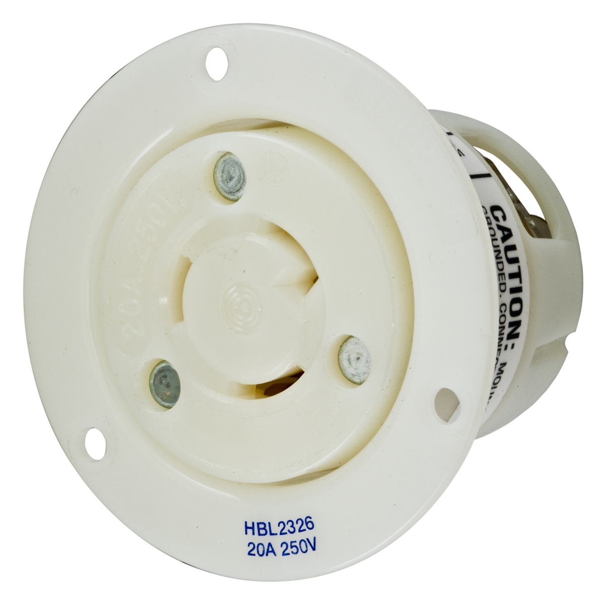 Hubbell HBL2326 20 Amp 250 Volt 2-Pole 3-Wire NEMA L6-20R White Locking Flanged Receptacle